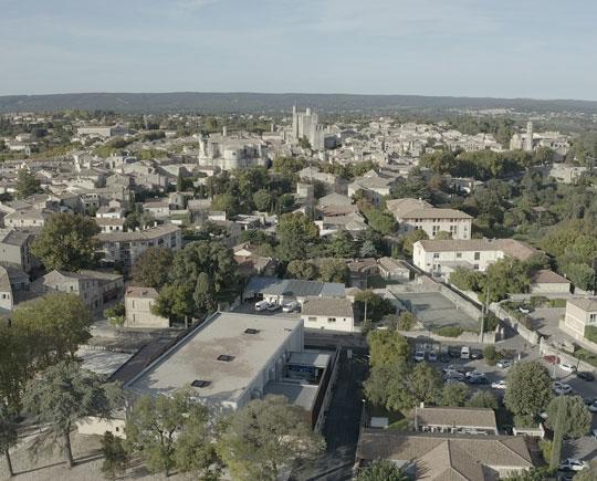 Vu aérienne d'Uzès pour le site de l'Ombrière
